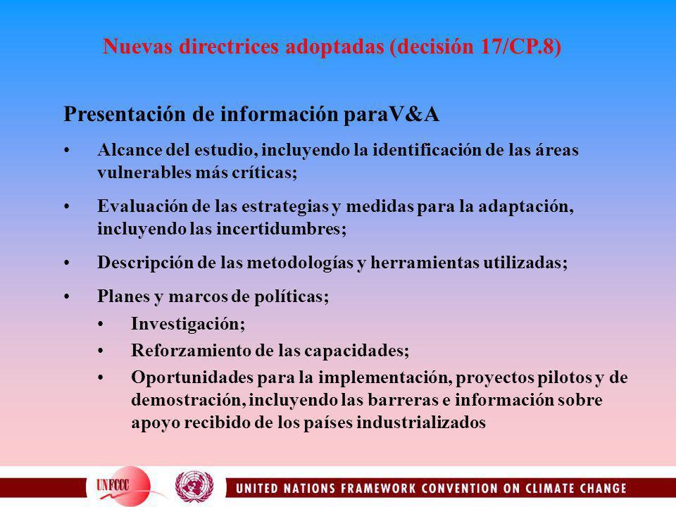 Nuevas directrices adoptadas (decisión 17/CP.8) Presentación de información paraV&A Alcance del estudio, incluyendo la identificación de las áreas vul