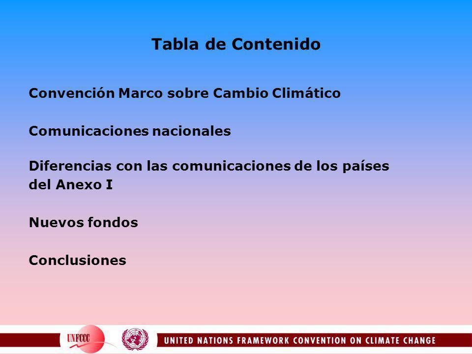 Tabla de Contenido Convención Marco sobre Cambio Climático Comunicaciones nacionales Diferencias con las comunicaciones de los países del Anexo I Nuevos fondos Conclusiones
