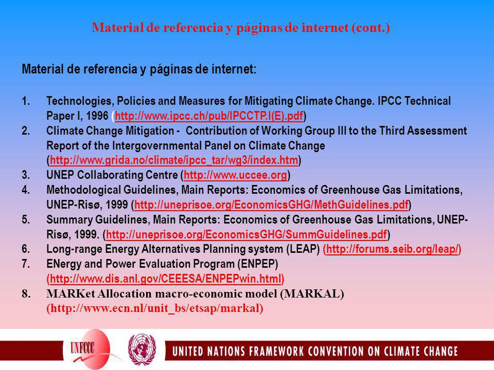 Material de referencia y páginas de internet (cont.) Material de referencia y páginas de internet: 1.Technologies, Policies and Measures for Mitigating Climate Change.