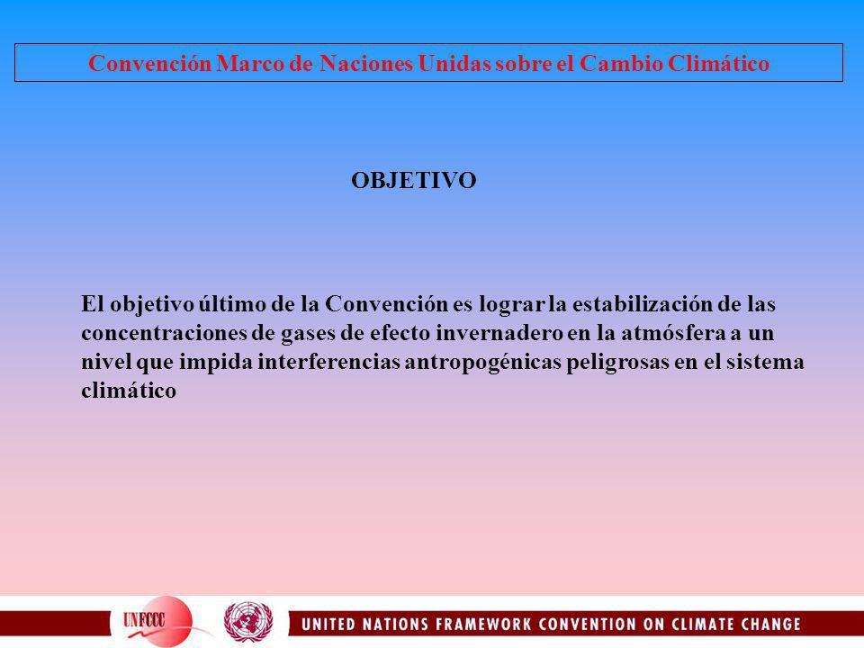 Convención Marco de Naciones Unidas sobre el Cambio Climático El objetivo último de la Convención es lograr la estabilización de las concentraciones d