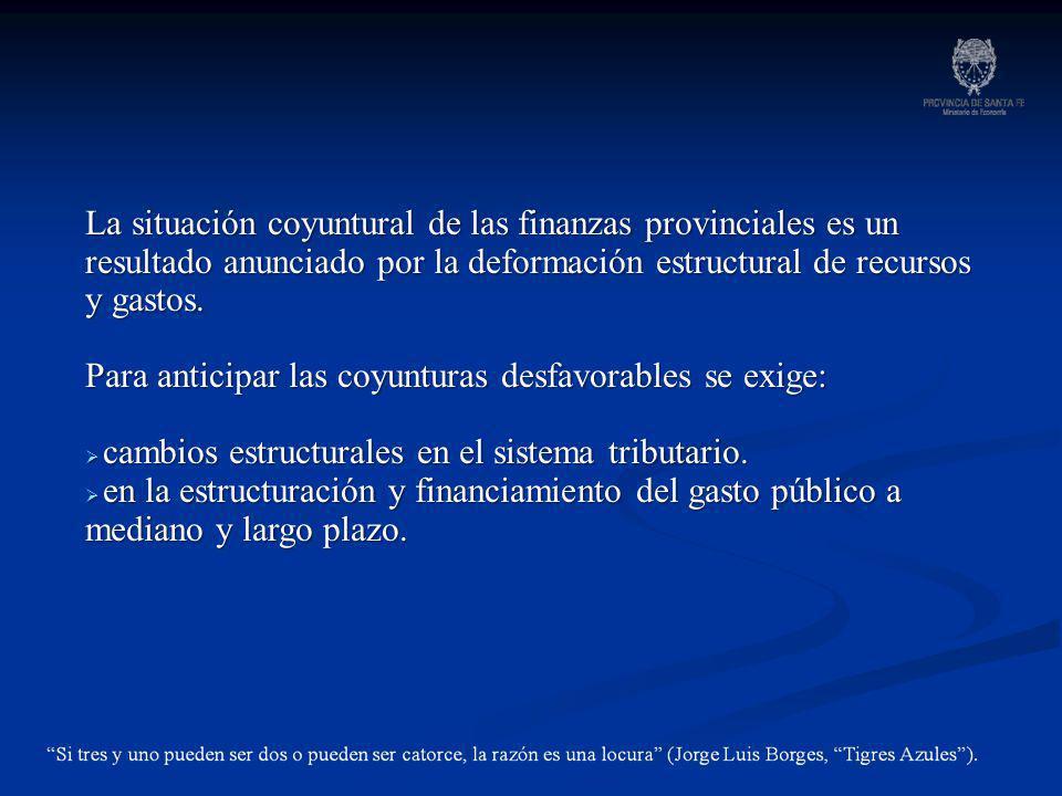 La situación coyuntural de las finanzas provinciales es un resultado anunciado por la deformación estructural de recursos y gastos.
