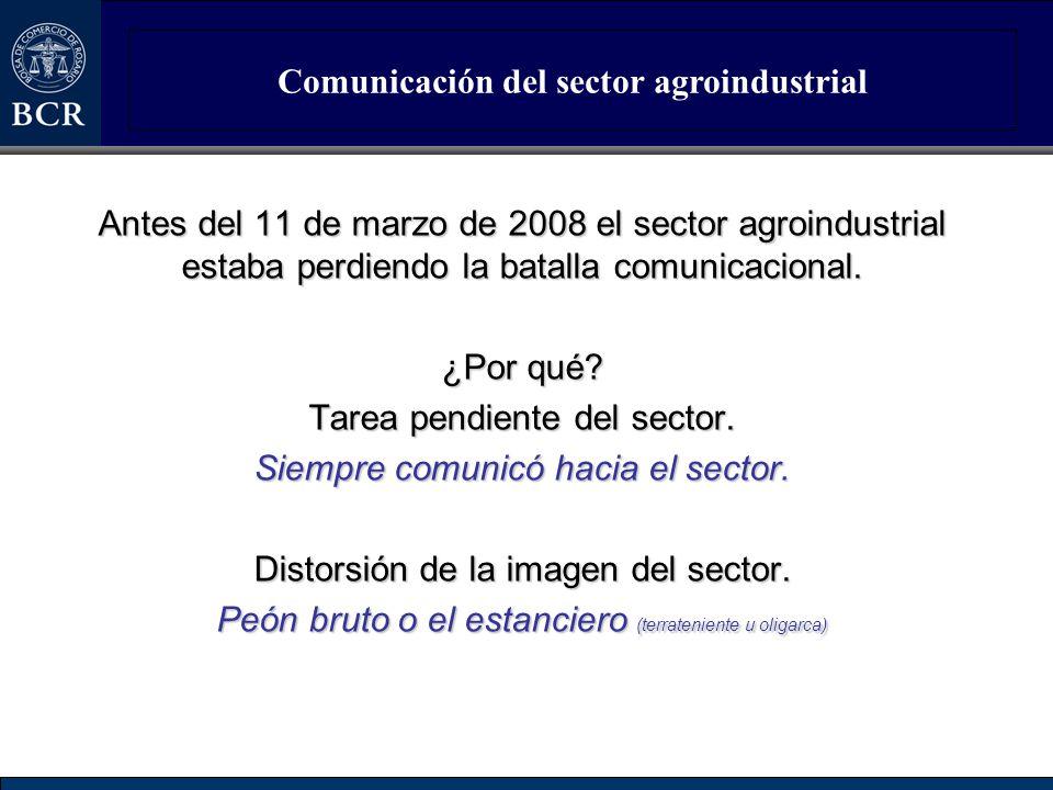Comunicación del sector agroindustrial Antes del 11 de marzo de 2008 el sector agroindustrial estaba perdiendo la batalla comunicacional. ¿Por qué? Ta
