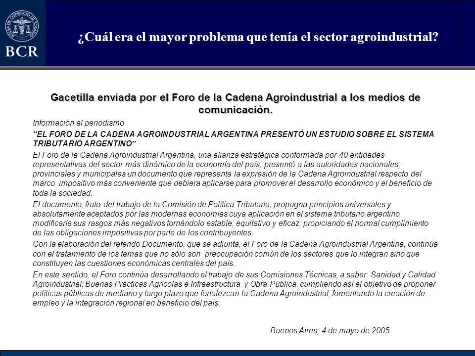 ¿Cuál era el mayor problema que tenía el sector agroindustrial? Gacetilla enviada por el Foro de la Cadena Agroindustrial a los medios de comunicación