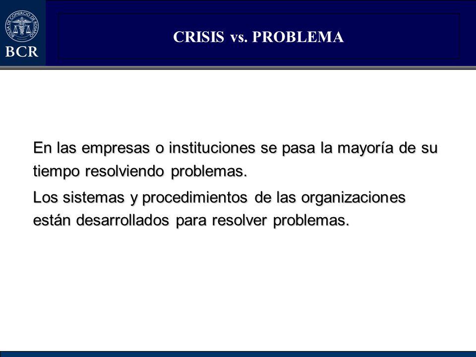 CRISIS vs. PROBLEMA En las empresas o instituciones se pasa la mayoría de su tiempo resolviendo problemas. Los sistemas y procedimientos de las organi