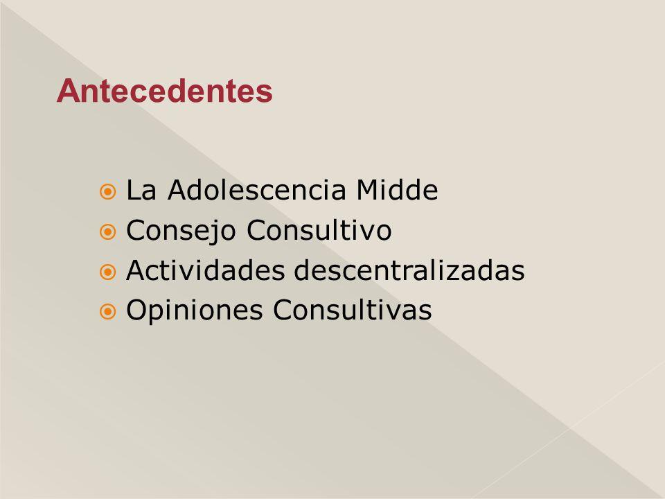 La Adolescencia Midde Consejo Consultivo Actividades descentralizadas Opiniones Consultivas Antecedentes