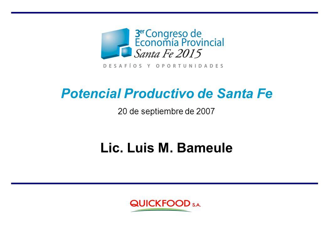 Potencial Productivo de Santa Fe 20 de septiembre de 2007 Lic. Luis M. Bameule