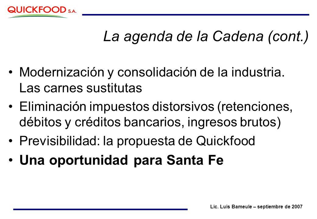 La agenda de la Cadena (cont.) Modernización y consolidación de la industria.