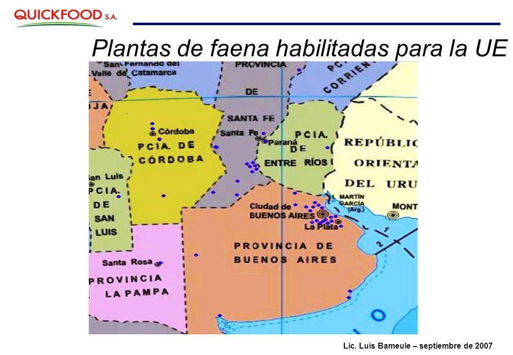 Plantas de faena habilitadas para la UE Lic. Luis Bameule – septiembre de 2007