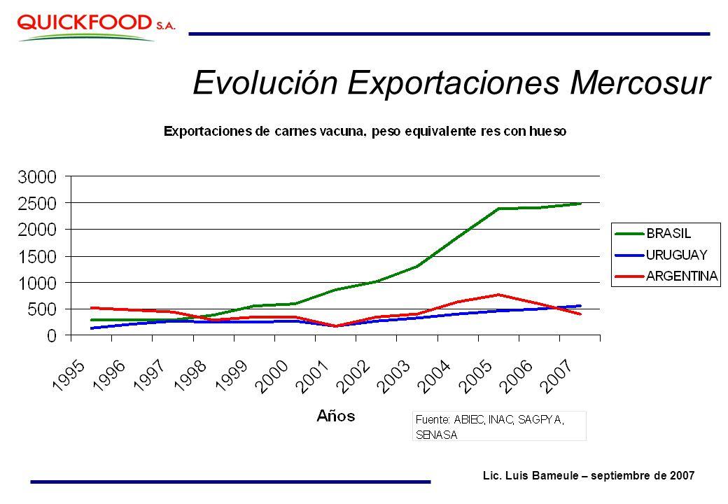 Evolución Exportaciones Mercosur Lic. Luis Bameule – septiembre de 2007