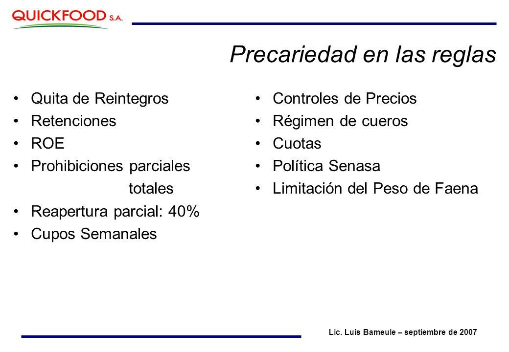 Precariedad en las reglas Quita de Reintegros Retenciones ROE Prohibiciones parciales totales Reapertura parcial: 40% Cupos Semanales Lic.