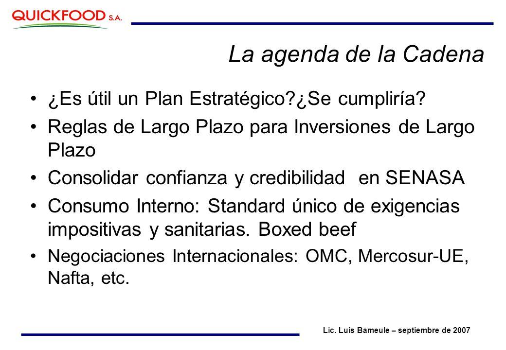 La agenda de la Cadena ¿Es útil un Plan Estratégico?¿Se cumpliría.
