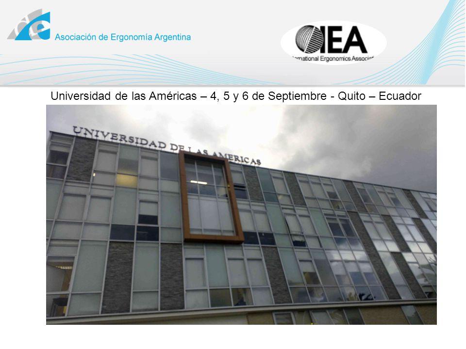 Universidad de las Américas – 4, 5 y 6 de Septiembre - Quito – Ecuador
