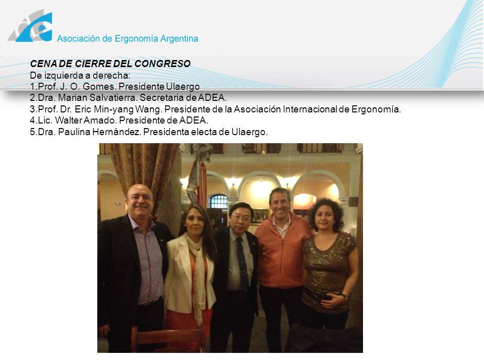 CENA DE CIERRE DEL CONGRESO De izquierda a derecha: 1.Prof. J. O. Gomes. Presidente Ulaergo 2.Dra. Marian Salvatierra. Secretaria de ADEA. 3.Prof. Dr.