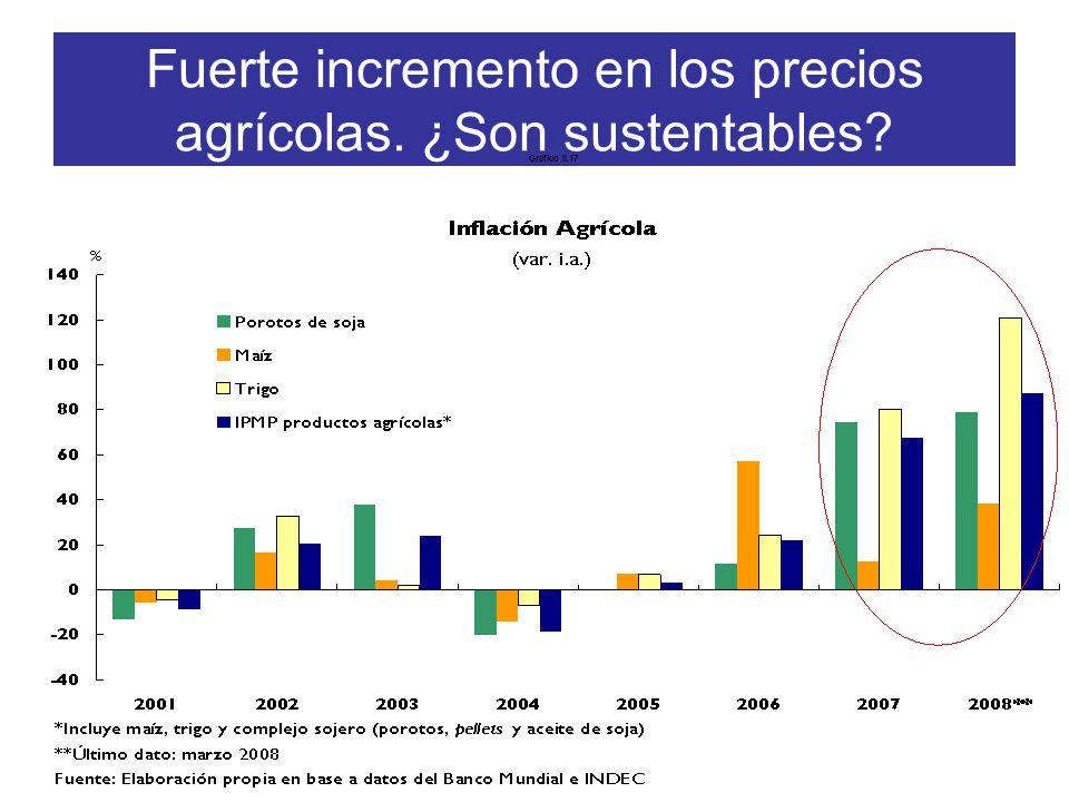 Fuerte incremento en los precios agrícolas. ¿Son sustentables Gráfico II.17