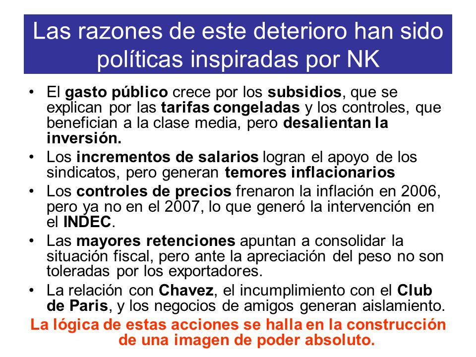 Las razones de este deterioro han sido políticas inspiradas por NK El gasto público crece por los subsidios, que se explican por las tarifas congeladas y los controles, que benefician a la clase media, pero desalientan la inversión.