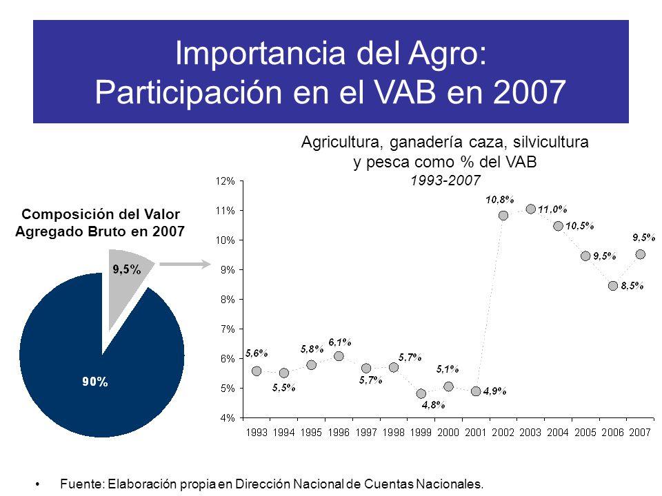 Composición del Valor Agregado Bruto en 2007 Importancia del Agro: Participación en el VAB en 2007 Fuente: Elaboración propia en Dirección Nacional de Cuentas Nacionales.