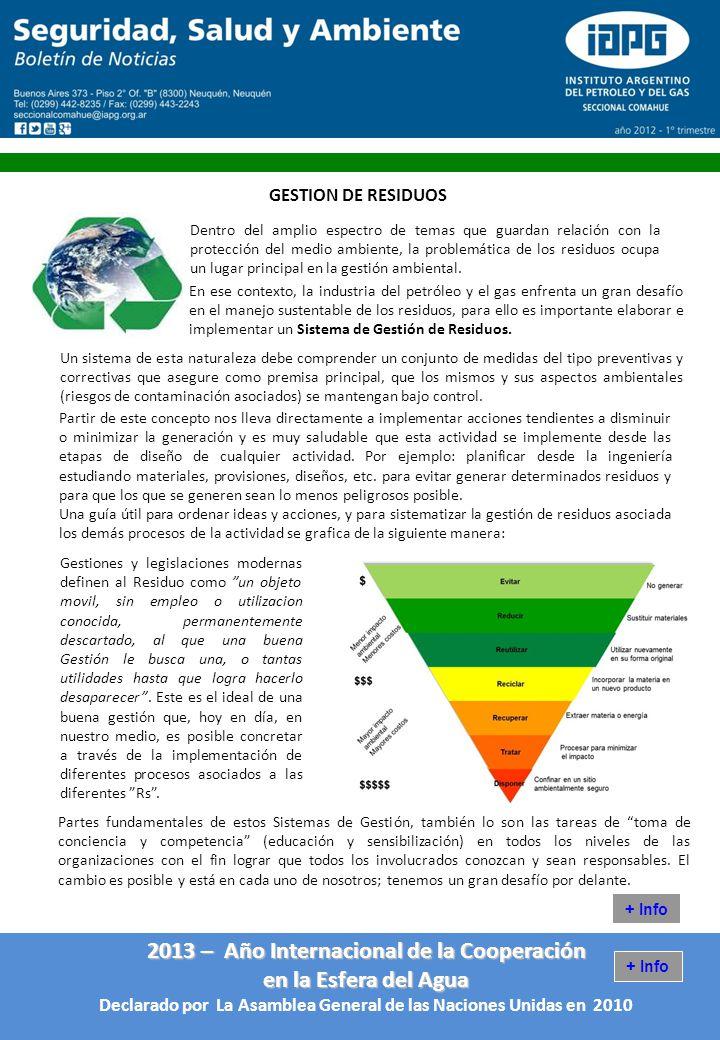 2013 – Año Internacional de la Cooperación en la Esfera del Agua Declarado por La Asamblea General de las Naciones Unidas en 2010 GESTION DE RESIDUOS + Info Dentro del amplio espectro de temas que guardan relación con la protección del medio ambiente, la problemática de los residuos ocupa un lugar principal en la gestión ambiental.