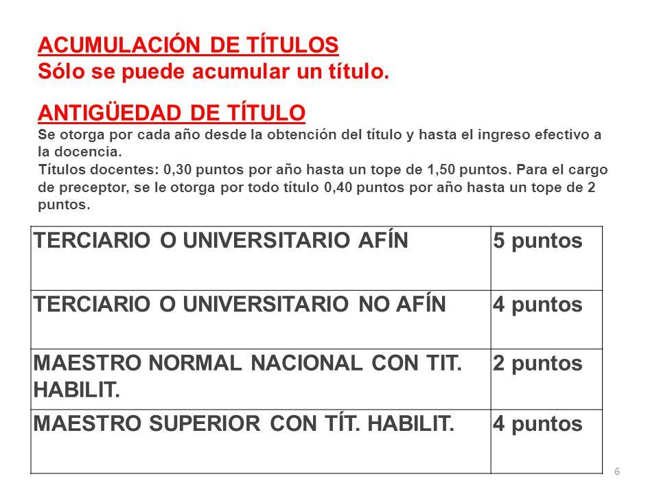 6 TERCIARIO O UNIVERSITARIO AFÍN5 puntos TERCIARIO O UNIVERSITARIO NO AFÍN4 puntos MAESTRO NORMAL NACIONAL CON TIT.