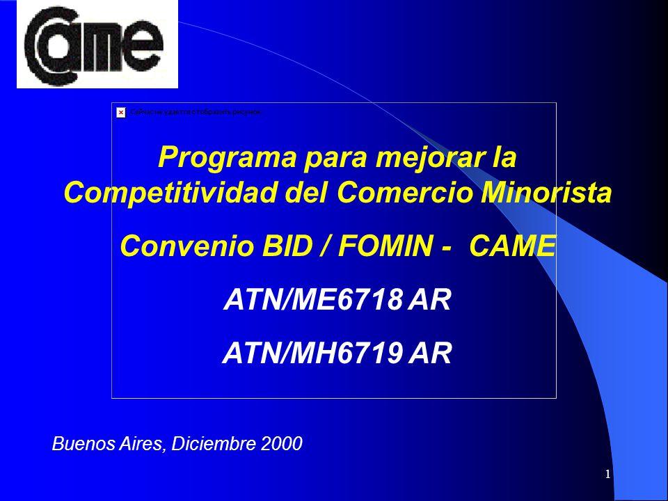 1 Buenos Aires, Diciembre 2000 Programa para mejorar la Competitividad del Comercio Minorista Convenio BID / FOMIN - CAME ATN/ME6718 AR ATN/MH6719 AR