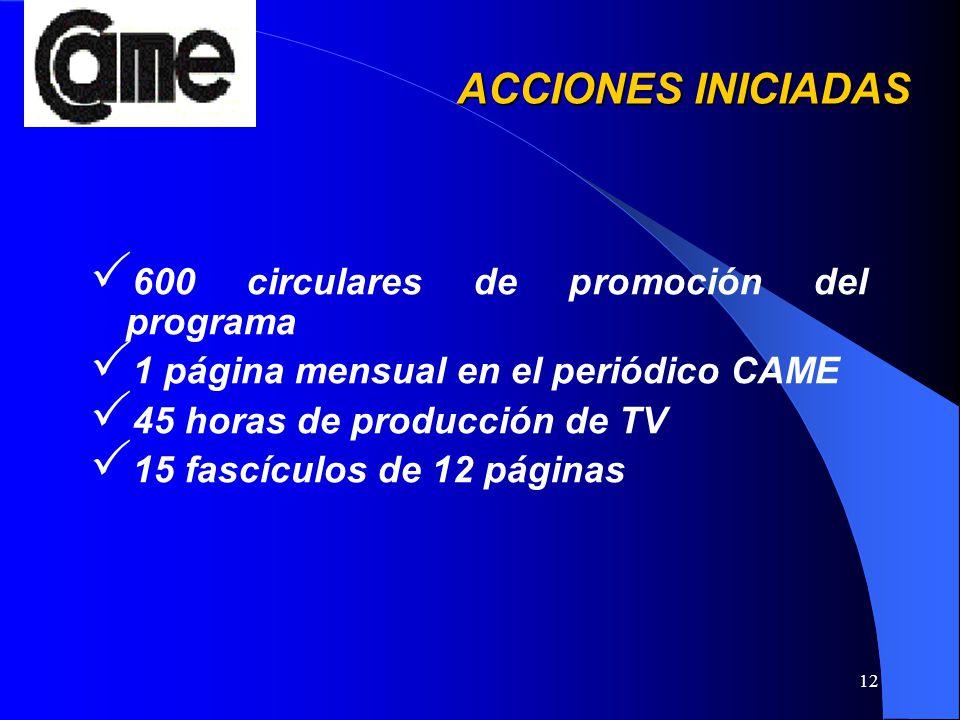12 ACCIONES INICIADAS 600 circulares de promoción del programa 1 página mensual en el periódico CAME 45 horas de producción de TV 15 fascículos de 12