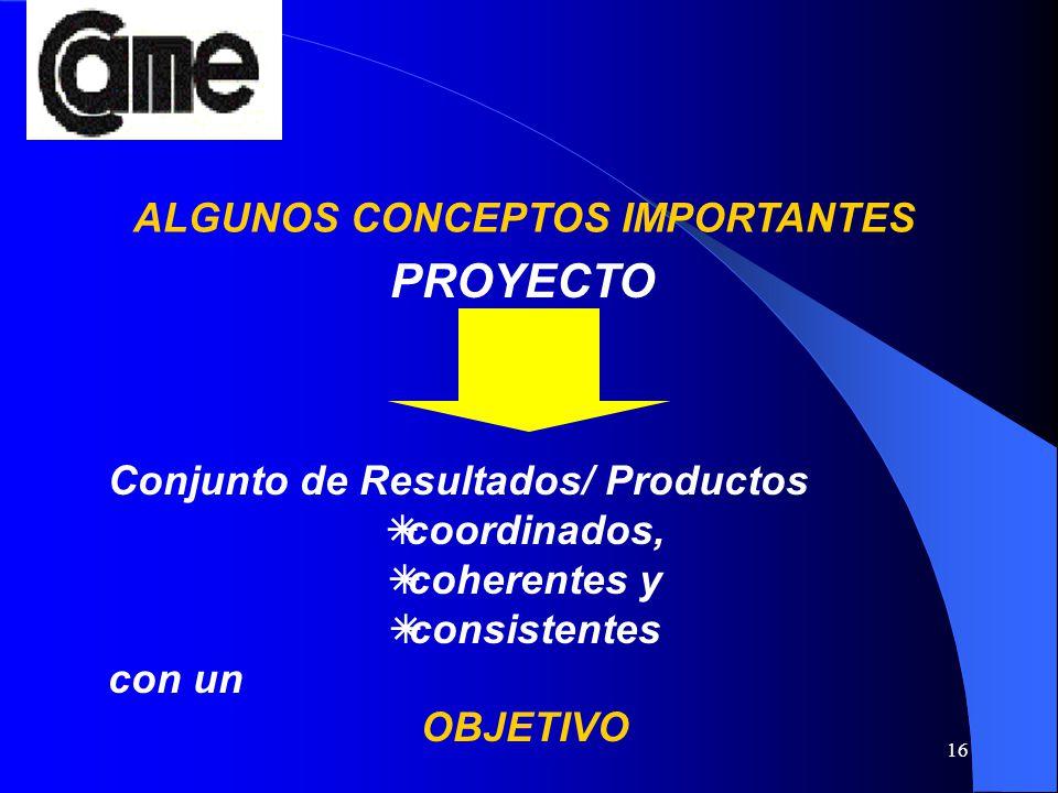 16 Conjunto de Resultados/ Productos coordinados, coherentes y consistentes con un OBJETIVO PROYECTO ALGUNOS CONCEPTOS IMPORTANTES