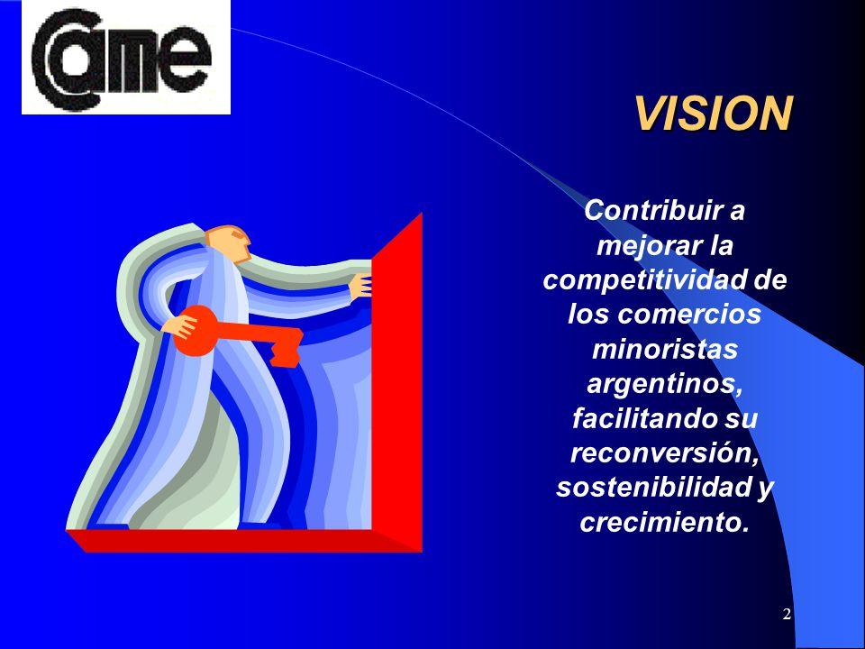 2 VISION Contribuir a mejorar la competitividad de los comercios minoristas argentinos, facilitando su reconversión, sostenibilidad y crecimiento.