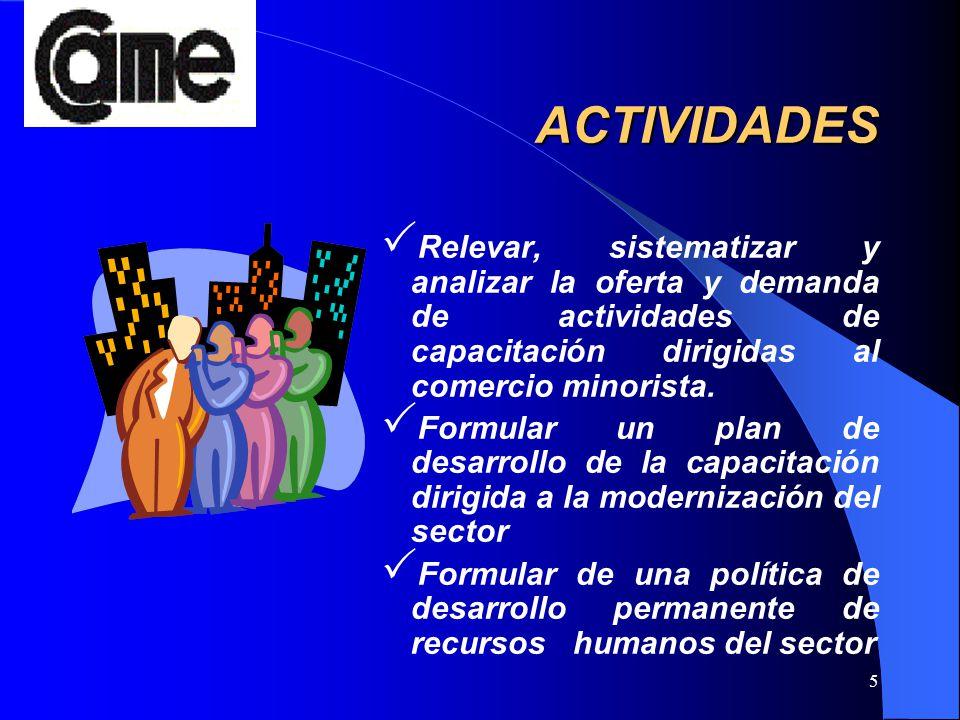 5 ACTIVIDADES Relevar, sistematizar y analizar la oferta y demanda de actividades de capacitación dirigidas al comercio minorista. Formular un plan de