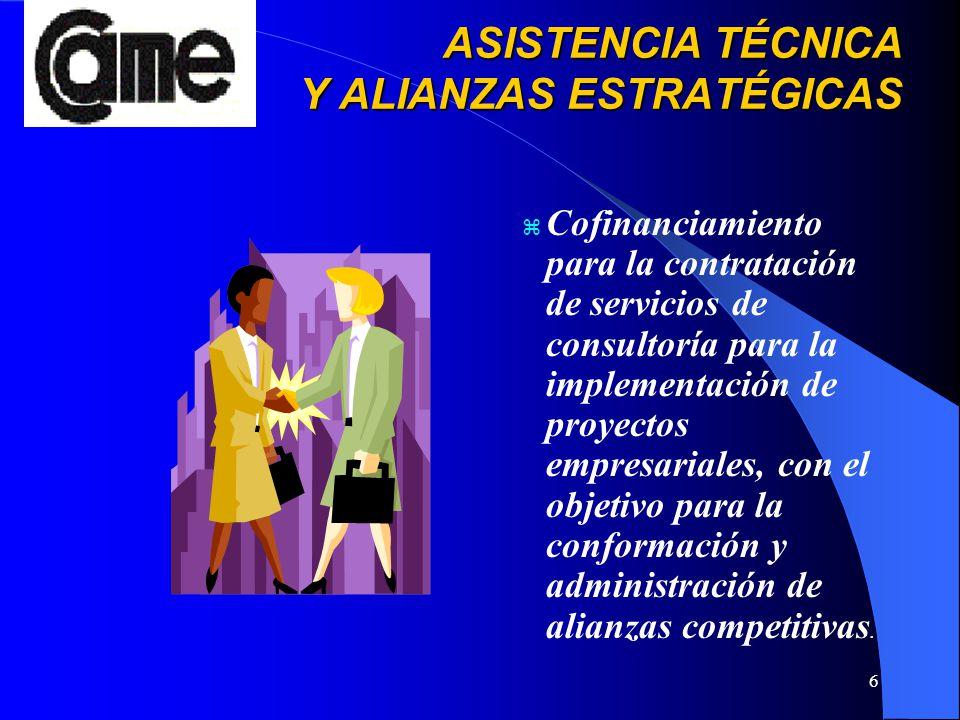 6 ASISTENCIA TÉCNICA Y ALIANZAS ESTRATÉGICAS ASISTENCIA TÉCNICA Y ALIANZAS ESTRATÉGICAS z Cofinanciamiento para la contratación de servicios de consul