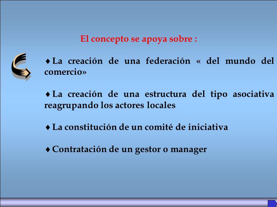 El concepto se apoya sobre : La creación de una federación « del mundo del comercio» La creación de una estructura del tipo asociativa reagrupando los actores locales La constitución de un comité de iniciativa Contratación de un gestor o manager