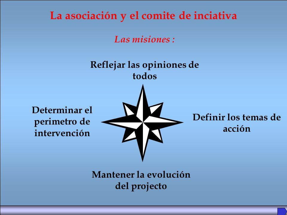 La asociación y el comite de inciativa Las misiones : Reflejar las opiniones de todos Determinar el perimetro de intervención Definir los temas de acción Mantener la evolución del projecto