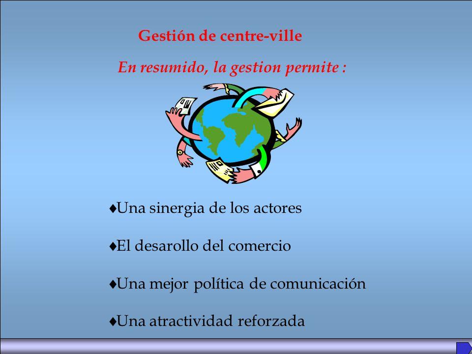 Una sinergia de los actores El desarollo del comercio Una mejor política de comunicación Una atractividad reforzada Gestión de centre-ville En resumido, la gestion permite :
