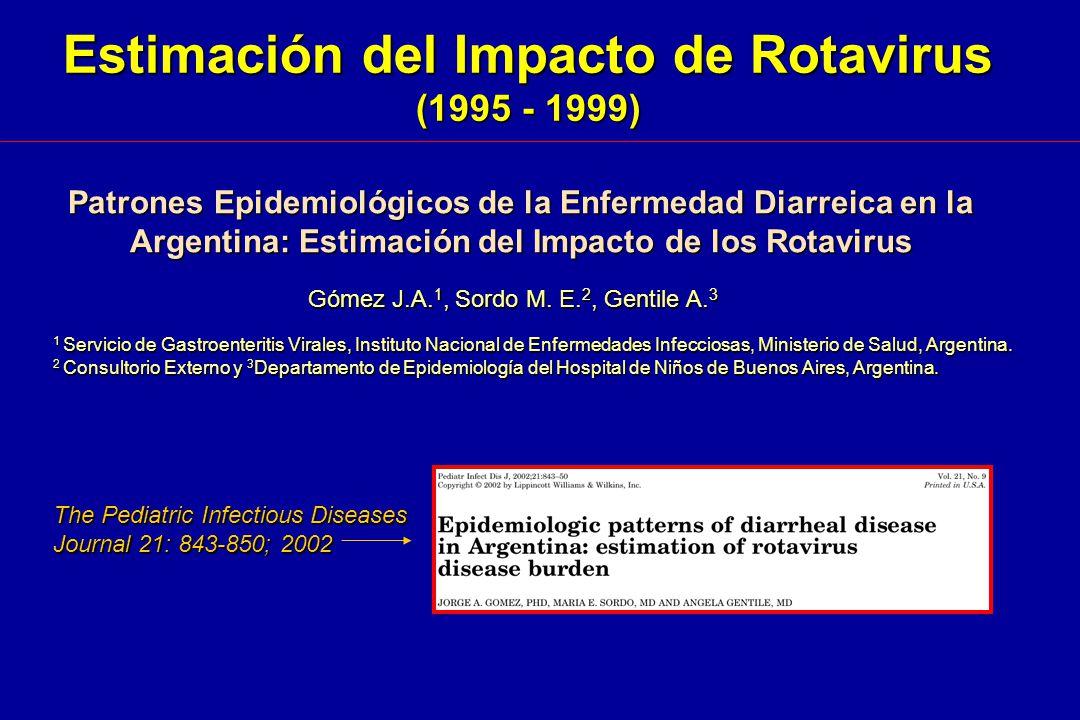 Patrones Epidemiológicos de la Enfermedad Diarreica en la Argentina: Estimación del Impacto de los Rotavirus Gómez J.A. 1, Sordo M. E. 2, Gentile A. 3