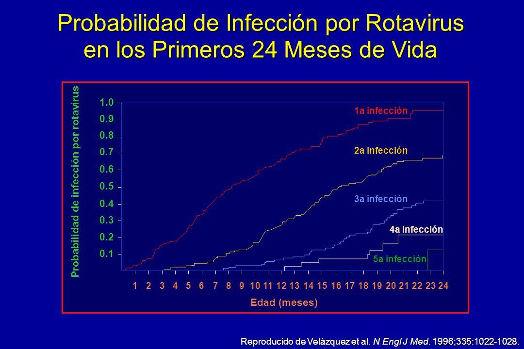 Probabilidad de Infección por Rotavirus en los Primeros 24 Meses de Vida Reproducido de Velázquez et al. N Engl J Med. 1996;335:1022-1028. 1.0 0.9 0.8