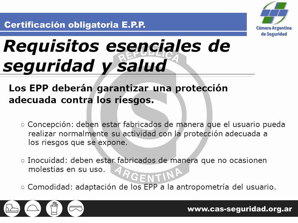 Requisitos esenciales de seguridad y salud Los EPP deberán garantizar una protección adecuada contra los riesgos. Concepción: deben estar fabricados d