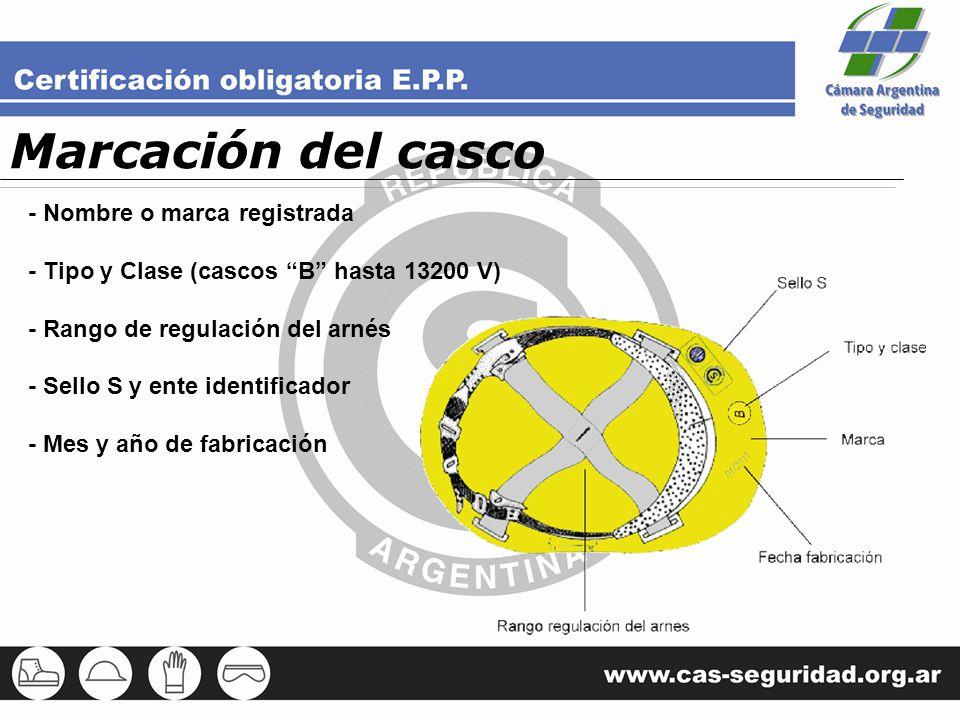 Marcación del casco - Nombre o marca registrada - Tipo y Clase (cascos B hasta 13200 V) - Rango de regulación del arnés - Sello S y ente identificador