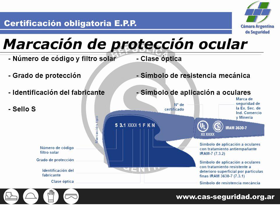 Marcación de protección ocular - Número de código y filtro solar - Grado de protección - Identificación del fabricante - Sello S - Clase óptica - Símb
