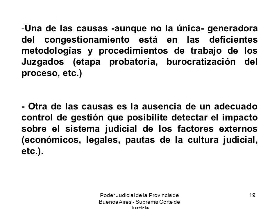 Poder Judicial de la Provincia de Buenos Aires - Suprema Corte de Justicia 19 -Una de las causas -aunque no la única- generadora del congestionamiento