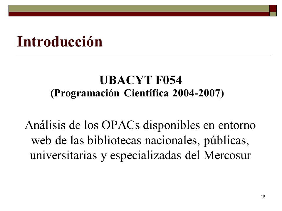 10 UBACYT F054 (Programación Científica 2004-2007) Análisis de los OPACs disponibles en entorno web de las bibliotecas nacionales, públicas, universitarias y especializadas del Mercosur Introducción