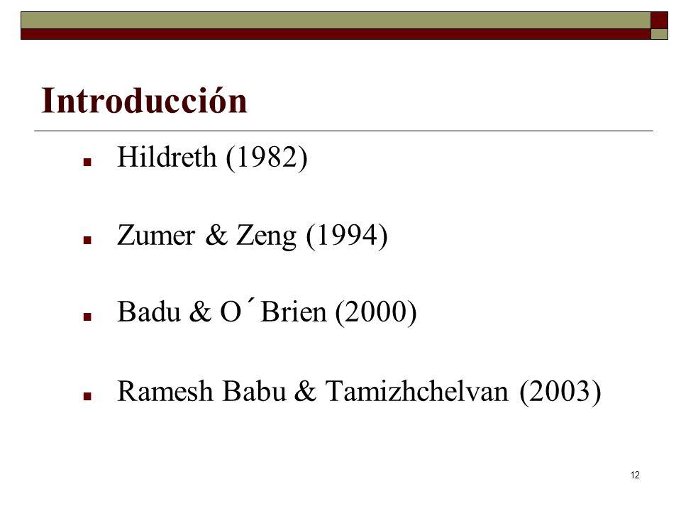 12 Hildreth (1982) Zumer & Zeng (1994) Badu & O´Brien (2000) Ramesh Babu & Tamizhchelvan (2003) Introducción