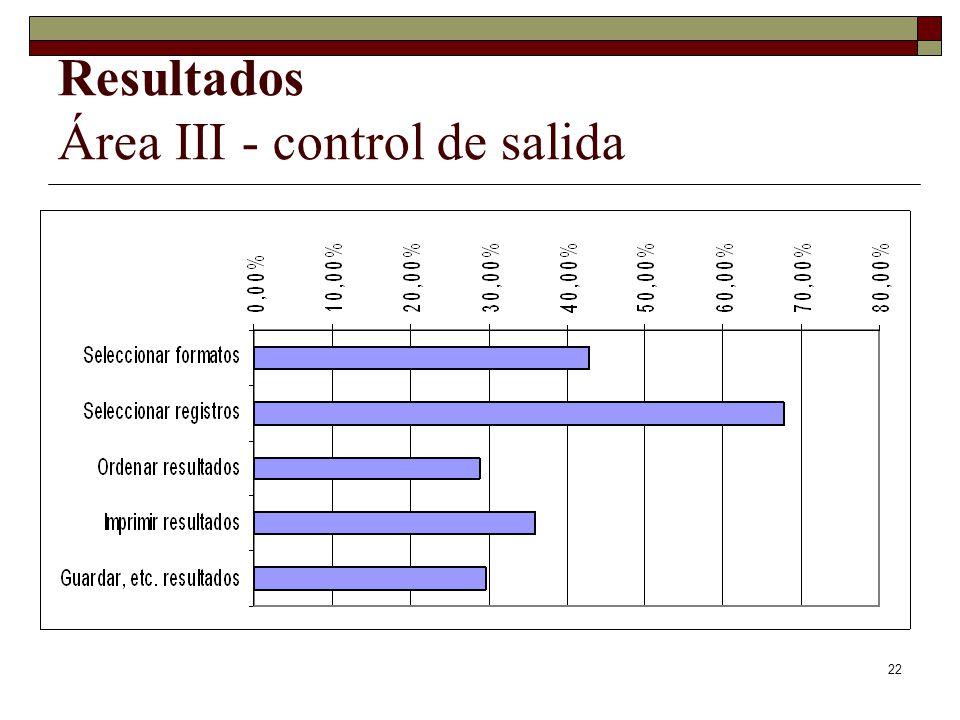 22 Resultados Área III - control de salida
