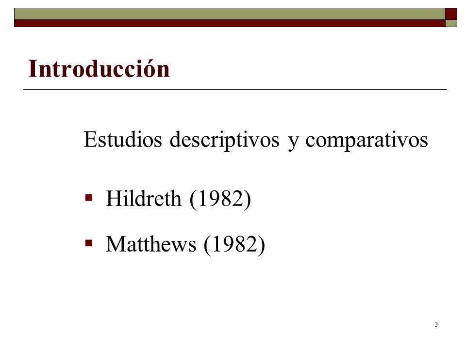 3 Introducción Estudios descriptivos y comparativos Hildreth (1982) Matthews (1982)
