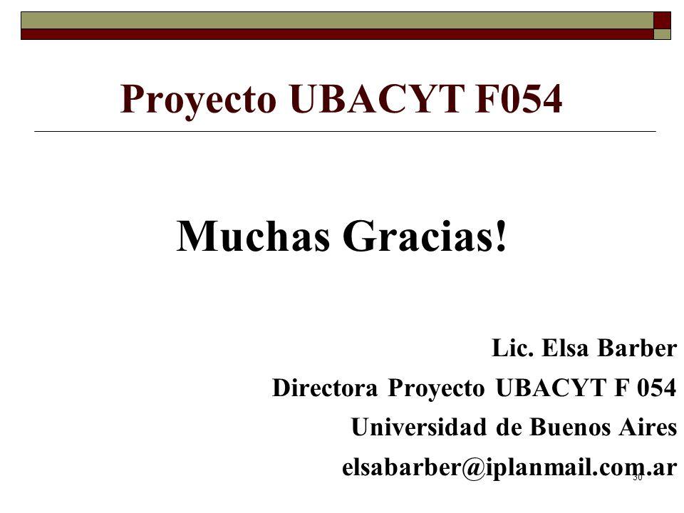 30 Proyecto UBACYT F054 Muchas Gracias. Lic.