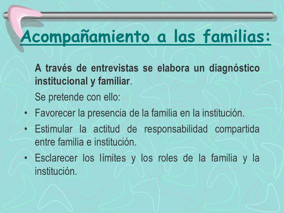 Acompañamiento a las familias: A través de entrevistas se elabora un diagnóstico institucional y familiar.