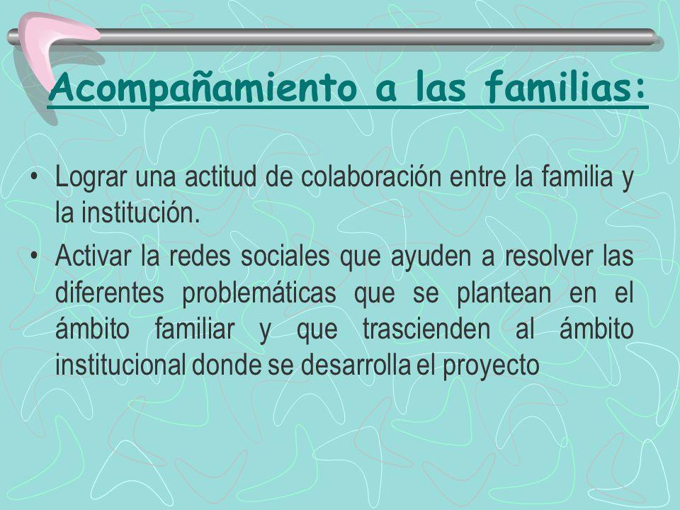 Acompañamiento a las familias: Lograr una actitud de colaboración entre la familia y la institución.