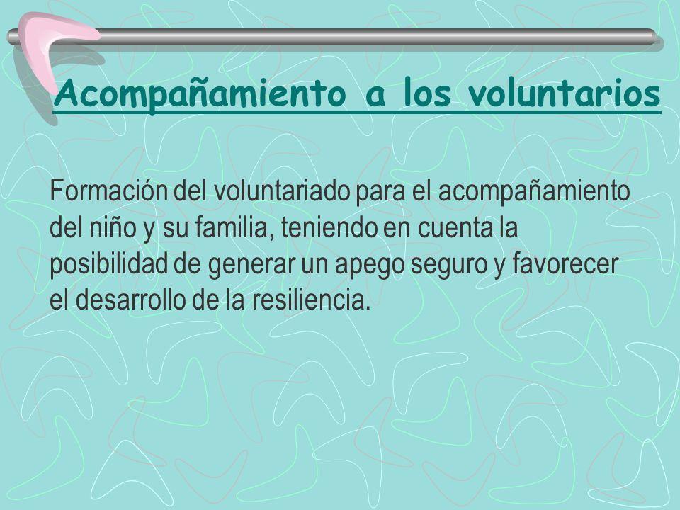 Acompañamiento a los voluntarios Formación del voluntariado para el acompañamiento del niño y su familia, teniendo en cuenta la posibilidad de generar un apego seguro y favorecer el desarrollo de la resiliencia.