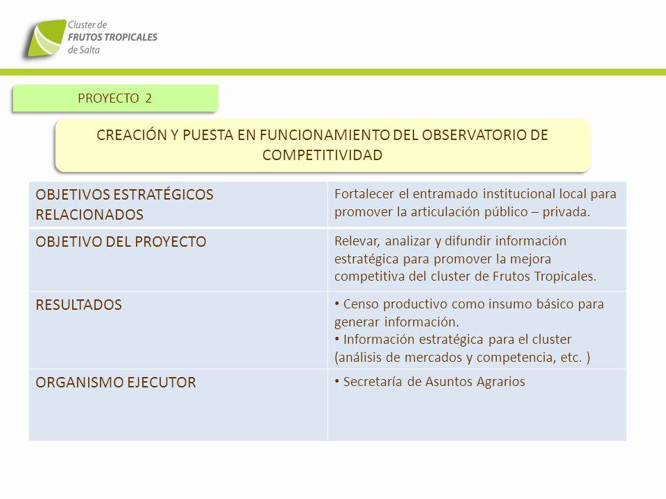 PROYECTO 2 CREACIÓN Y PUESTA EN FUNCIONAMIENTO DEL OBSERVATORIO DE COMPETITIVIDAD OBJETIVOS ESTRATÉGICOS RELACIONADOS Fortalecer el entramado instituc