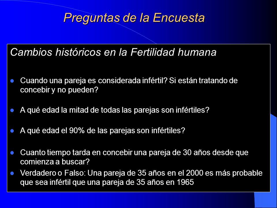 Preguntas de la Encuesta Cambios históricos en la Fertilidad humana Cuando una pareja es considerada infértil.