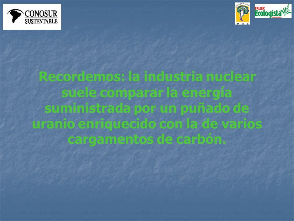 Recordemos: la industria nuclear suele comparar la energía suministrada por un puñado de uranio enriquecido con la de varios cargamentos de carbón.