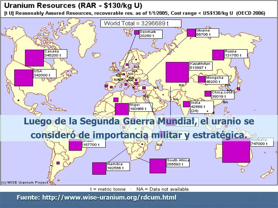 Luego de la Segunda Guerra Mundial, el uranio se consideró de importancia militar y estratégica.