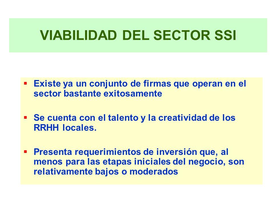 VIABILIDAD DEL SECTOR SSI Existe ya un conjunto de firmas que operan en el sector bastante exitosamente Se cuenta con el talento y la creatividad de los RRHH locales.